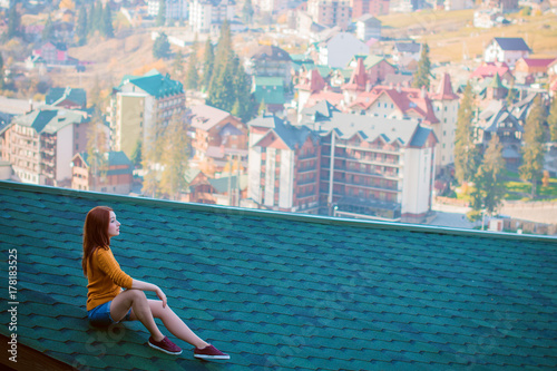Beautiful Casual Fashion Lady On Roof Top Having Relax Time Lifestyle People Concept Cute Sad Girl