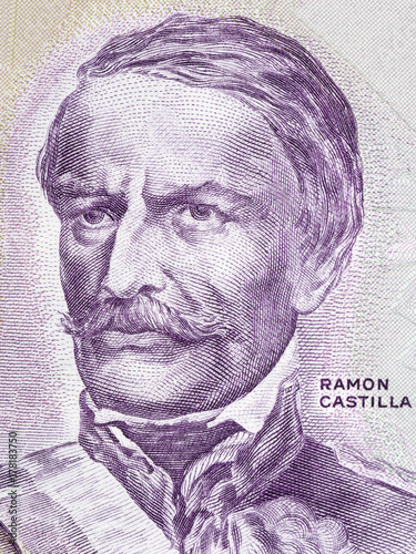 Foto  Ramon Castilla portrait from old Peruvian money