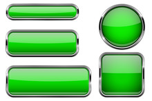 Green Glass Buttons With Chrome Frame