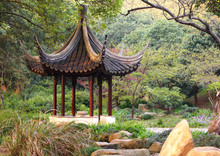 Wooden Pavilion In The Chinese Garden. Tiger Hill, Suzhou, China.