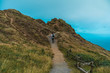 Man running up in mountains