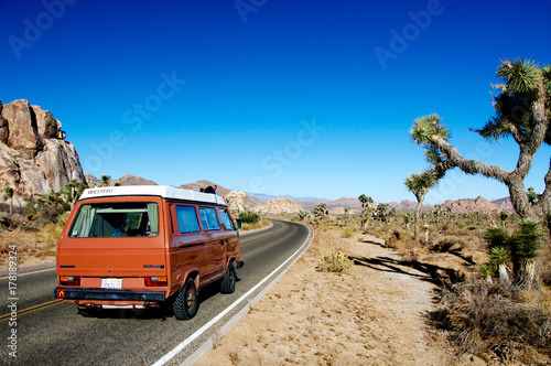 Photo  Desert road trip in an Old VW camper