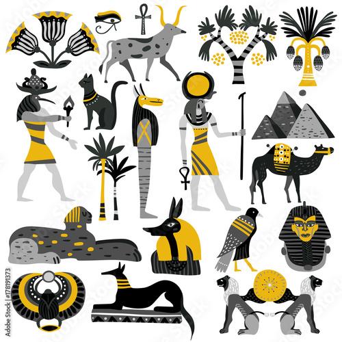 Canvas Print Egypt Decorative Icons Set