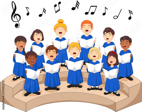 Fototapeta Choir girls and boys singing a song obraz