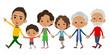 Hand holding family three generations black_Walking