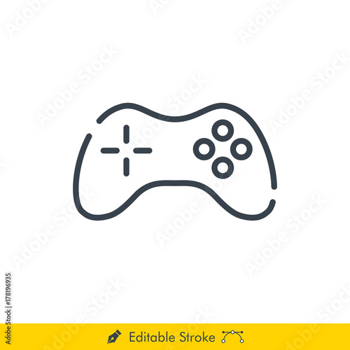 Joystick Icon / Vector - In Line / Stroke Design with Editable Stroke