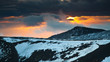 Sunset from the craters Silvestri, in the background Monte Vetore, Etna park , Nicolosi, Sicily, Italy