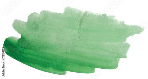 Plakat zielona plama akwarela z fakturą, nierówne brzegi akwarela