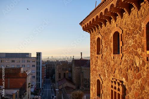 In de dag Sunrise in Barcelona Stone building and panorama