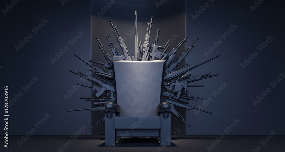 Fototapeta Throne made from weapons 3D Rendering