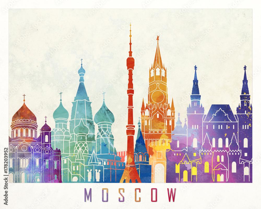 Fototapety, obrazy: Paris landmarks watercolor poster
