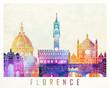 Florence landmarks watercolor poster