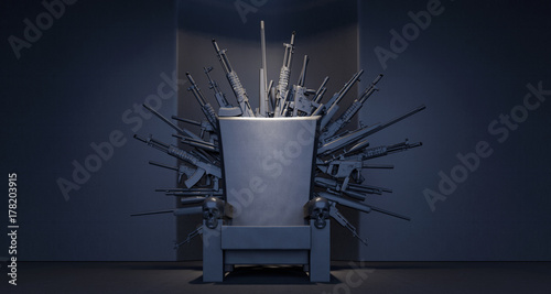 Fotografia Throne made from weapons 3D Rendering