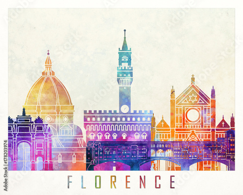 Fotografía  Florence landmarks watercolor poster