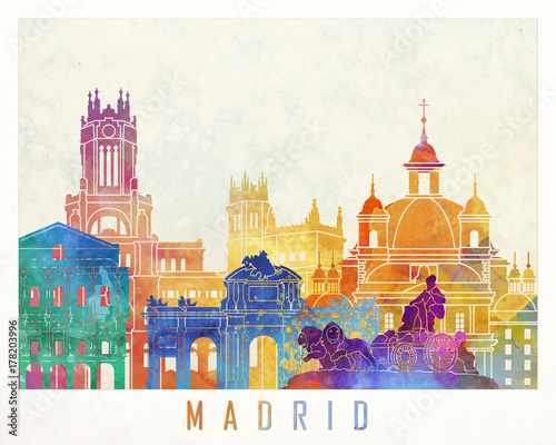 Madrid landmarks watercolor poster