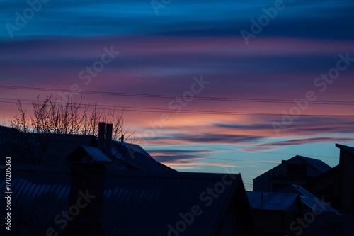 Foto op Canvas Khaki Sunset on a winter evening