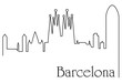 Barcelona city one line drawing background