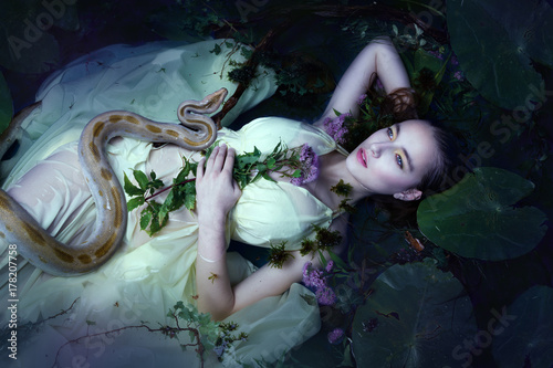 Young beautiful drown woman