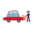 Auto mechanic, car service worker cleaning, washing a car with sponge and soap, cartoon vector illustration isolated on white background. Cartoon auto mechanic, technician washing, polishing a car