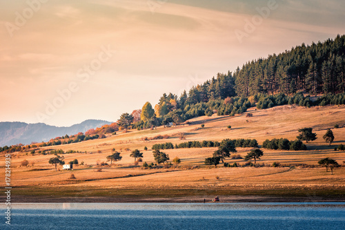 Batak Reservoir - lake and dam in Bulgaria, located in the Rhodope Mountains and is the third largest in Bulgaria Canvas Print