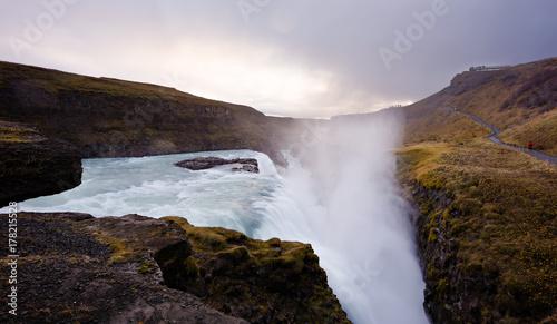 Zdjęcie XXL Gullfoss siklawa w zmierzchu, Iceland