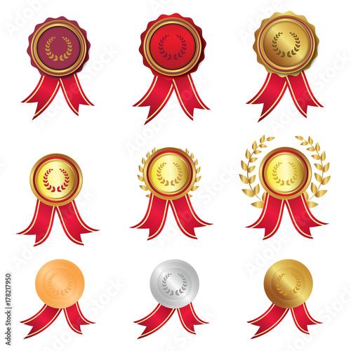 Lorbeerkranz - Kollektion mit Medaillen - Auszeichnungen Fototapet