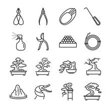 Bonsai Line Icon Set. Included...