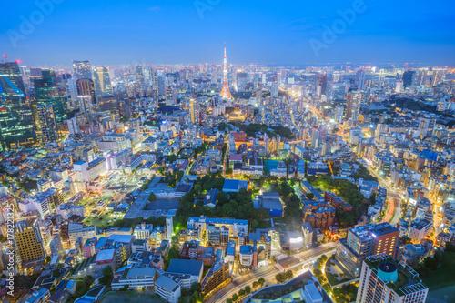 Obraz na dibondzie (fotoboard) nocny widok miasta Tokio, Japonia