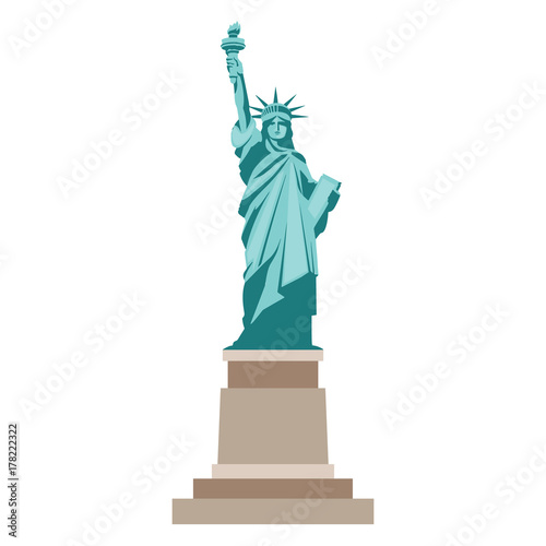 Fotografie, Tablou  Isolated statue of liberty on white background