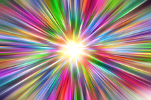 Colorful Rainbow Vibrant Of Colors In Fast Zoom Motion Blur Speed To Center Abstract Background
