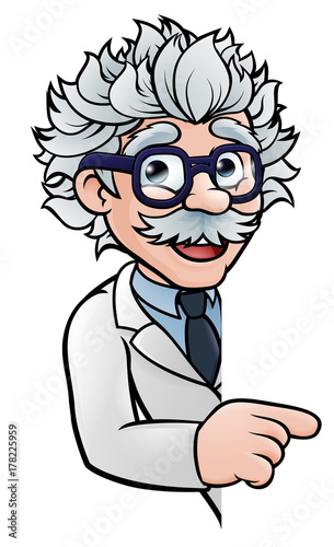Scientist Cartoon Character Pointing Sign Tableau sur Toile