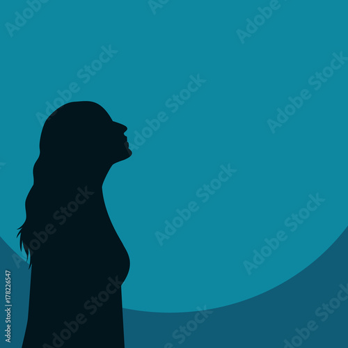 Girl Silhouette Looking Up Canvas Print