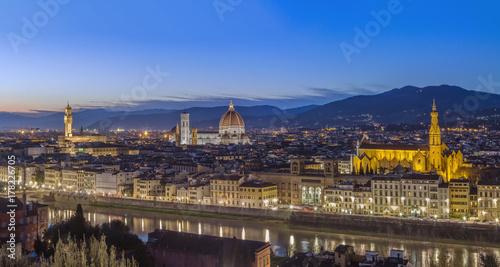 Plakat Widok Florencja w wieczór, Włochy