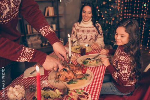 Plakat Ramiona szefa kuchni serwujące pieczone nadziewane mały indyk i świeże pyszne warzywa, na okrągłej drewnianej desce, obrus w kratkę, gotowe do spełnienia x mas, noel i świętować