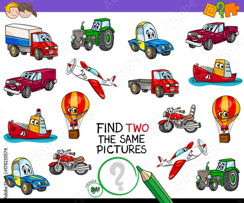 Foto op Canvas Cartoon cars find two the same vehicles pictures game