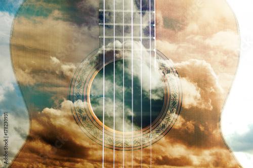 Fototapeta Gitara akustyczna skład. Podwójne narażenie. Muzyka koncepcja