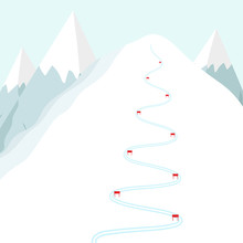 Cartoon Ski Track On Snow Mountain. Skiing Trace With Flags. Flat Vector Illustration.