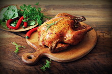 Whole Roasted Chicken On Cutti...