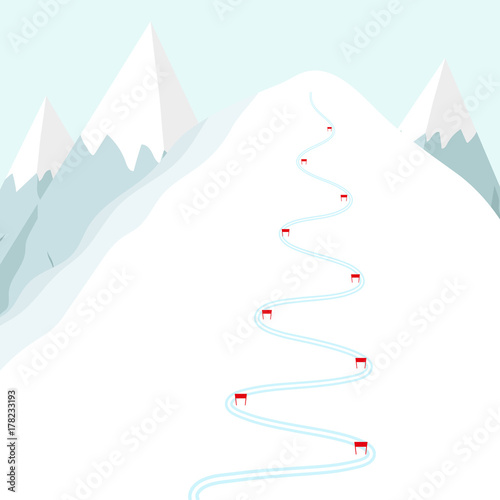 Fotomural  Cartoon ski track on snow mountain