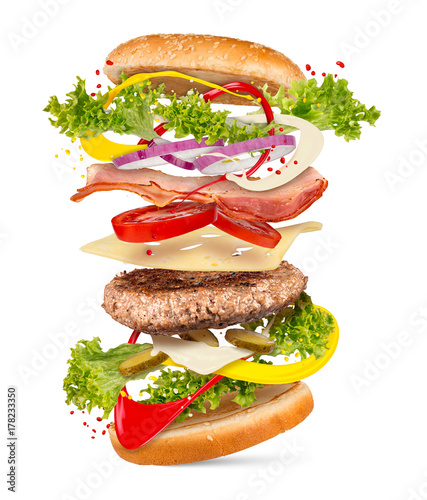 Fotografie, Obraz  creativ explosion ingredients of a cheesburger hamburger falling down flying con
