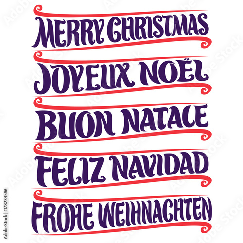 vector set of greeting text merry christmas in different language french joyeux noel