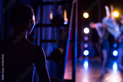 Asian ballet dancer at backstage in the theater. Recital. Canvas Print