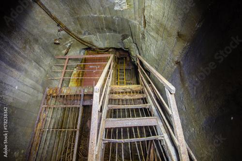 Aluminium Prints Old abandoned buildings Underground abandoned ore mine shaft tunnel gallery lift