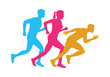 Colorful Silhouettes of Running Men and Woman