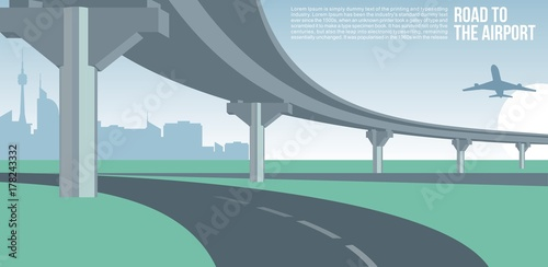 Overpass or bridge, in a city road to airport cityscape suburban or urban cool v Canvas Print