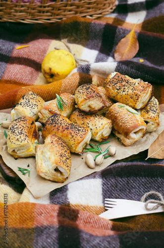 Zdjęcie XXL Jesień piknik, lunch na zewnątrz, koncepcja żywności