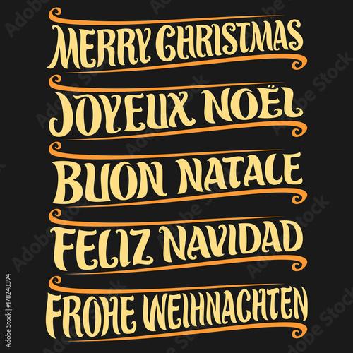 Feliz Navidad Joyeux Noel 2019.Vector Set Of Greeting Text Merry Christmas In Different
