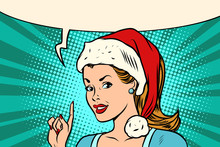 Santa Woman Pointing Finger