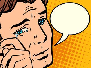 Comic man wipes tears