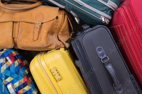Obraz na plátně A stack of old suitcases